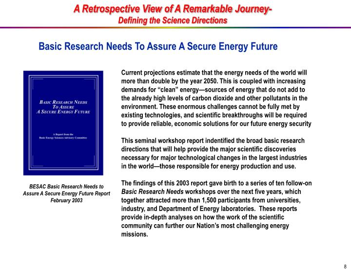 A Retrospective View of A Remarkable Journey-