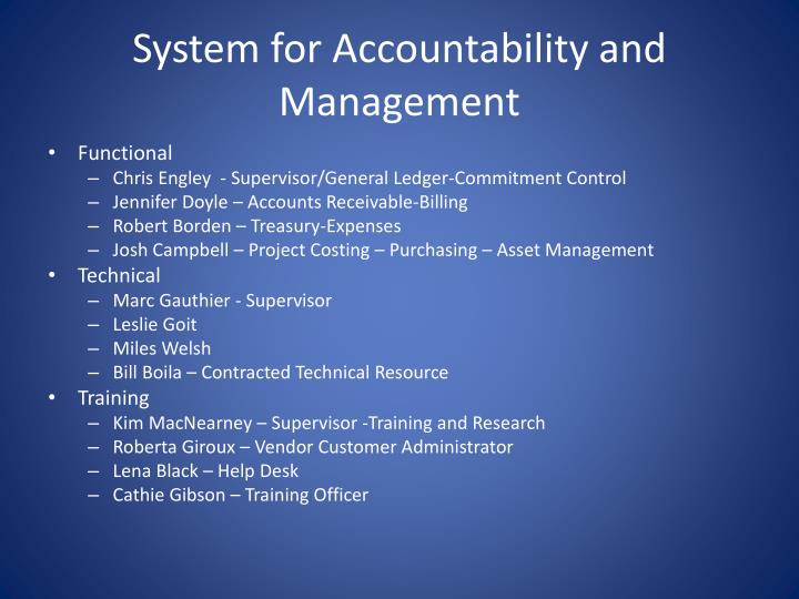 System for accountability and management2
