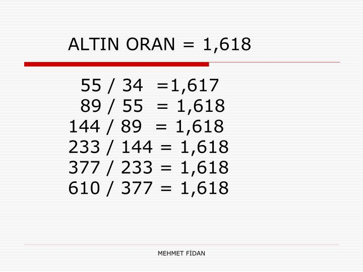 ALTIN ORAN = 1,618