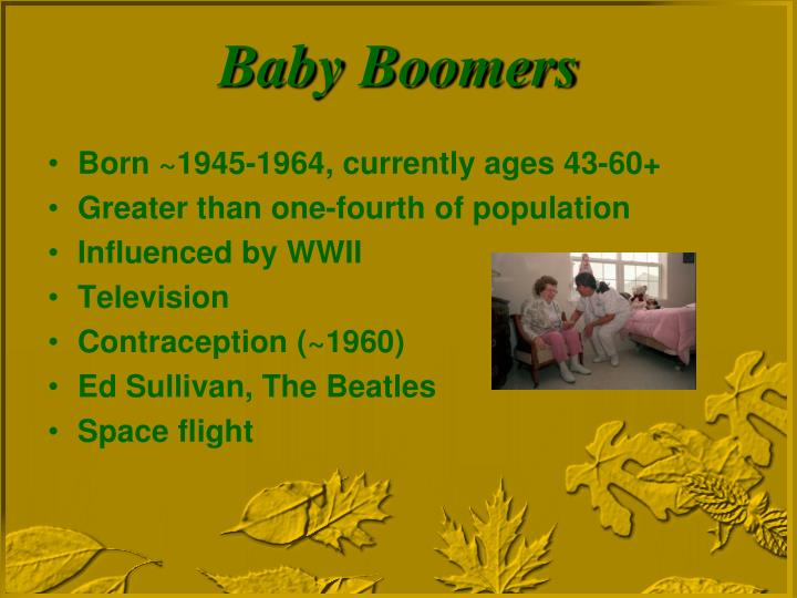 Born ~1945-1964, currently ages 43-60+