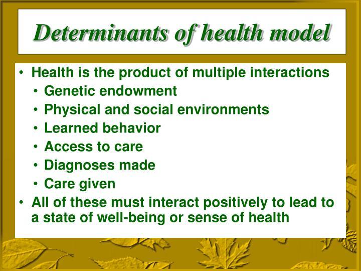 Determinants of health model