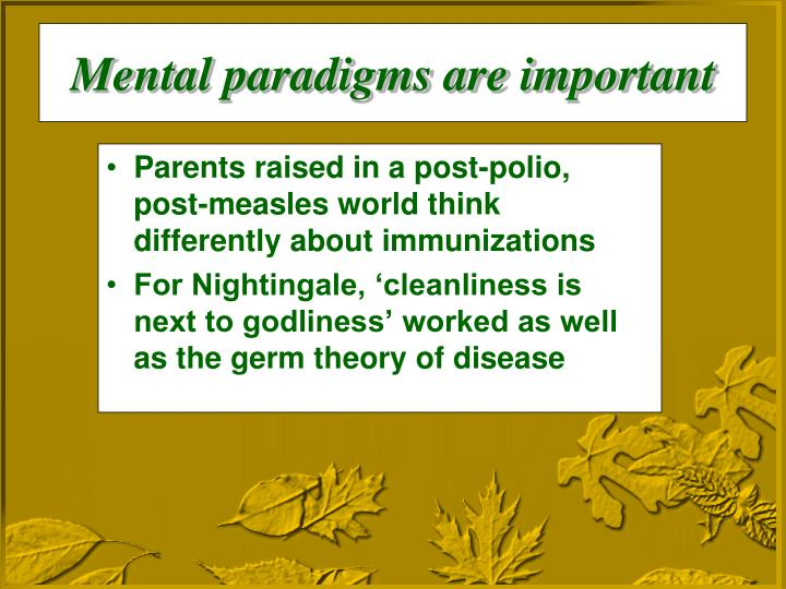 Mental paradigms are important