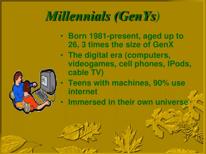 Born 1981-present, aged up to 26, 3 times the size of GenX