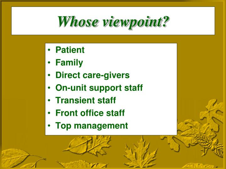 Whose viewpoint?