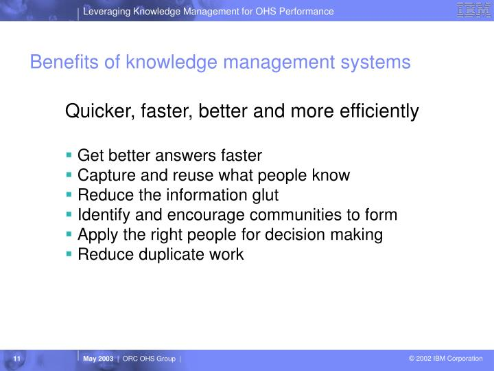Benefits Of Knowledge Management Systems