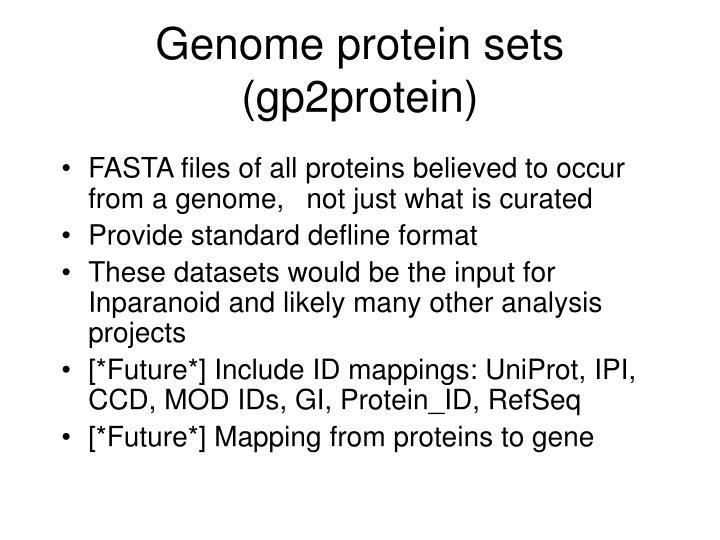 Genome protein sets gp2protein