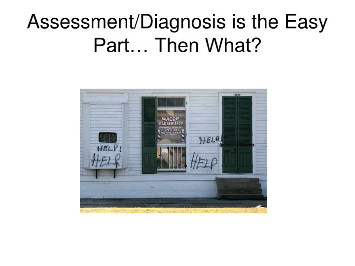 Assessment/Diagnosis is the Easy Part… Then What?