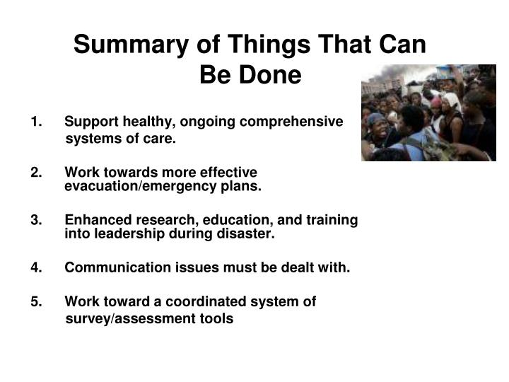 Summary of Things That Can Be Done