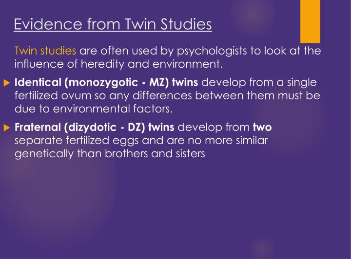 Evidence from Twin Studies
