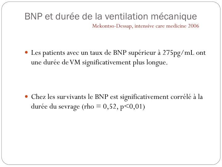 BNP et durée de la ventilation mécanique