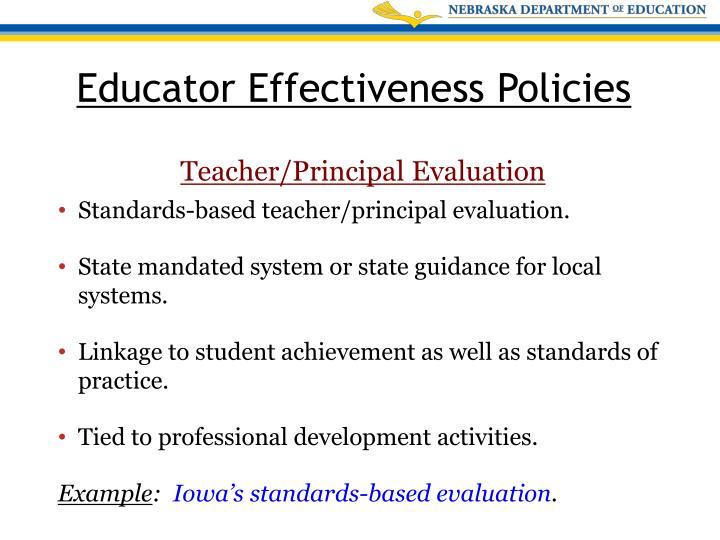 Standards-based teacher/principal evaluation.
