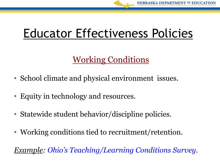 School climate and physical environment  issues.