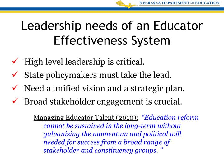 High level leadership is critical.