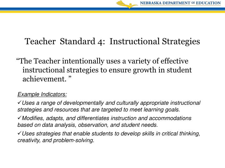 """""""The Teacher intentionally uses a variety of effective instructional strategies to ensure growth in student achievement. """""""
