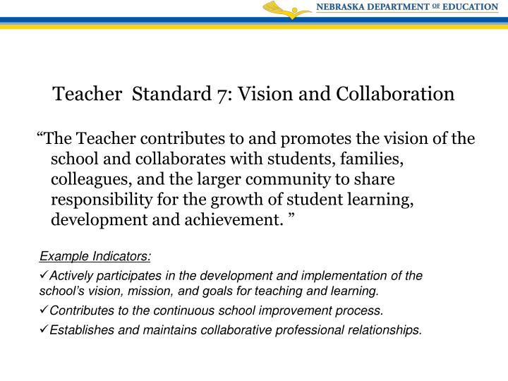 """""""The Teacher contributes to and promotes the vision of the school and collaborates with students, families, colleagues, and the larger community to share responsibility for the growth of student learning, development and achievement. """""""