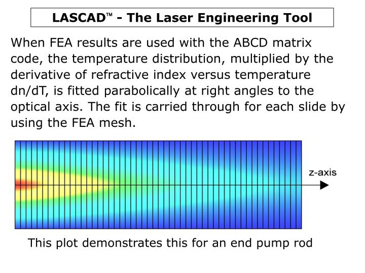 When FEA results are used with the ABCD matrix code, the temperature distribution, multiplied by the derivative of refractive index versus temperature dn/dT, is fitted parabolically at right angles to the optical axis. The fit is carried through for each slide by using the FEA mesh.