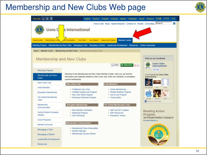 Membership and New Clubs Web page
