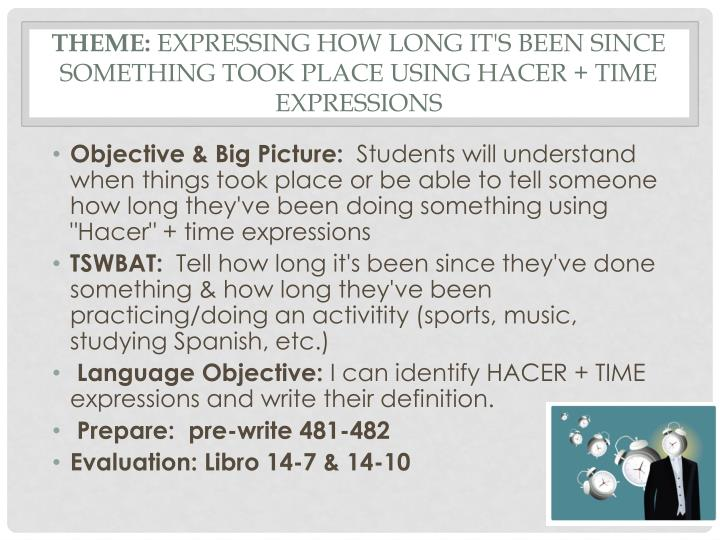 Theme expressing how long it s been since something took place using hacer time expressions