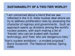 sustainability of a two tier world