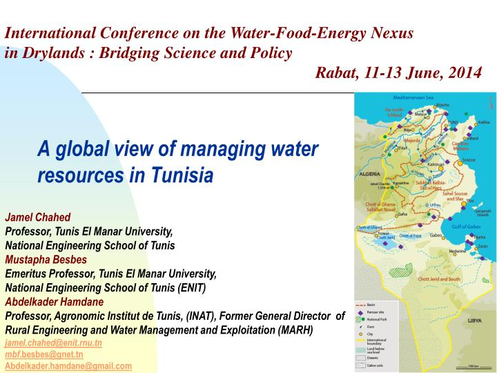 a global view of managing water resources in tunisia n.
