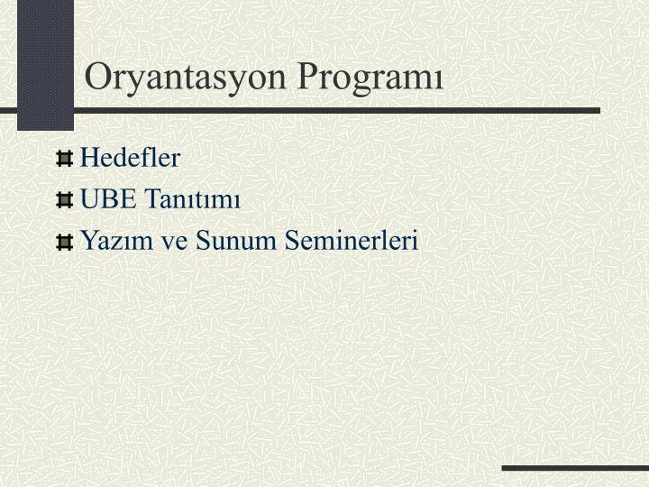 Oryantasyon program