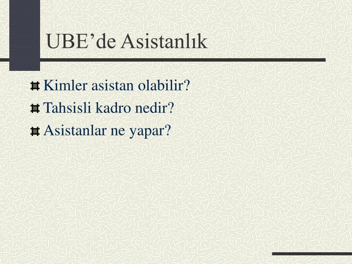 UBE'de Asistanlık