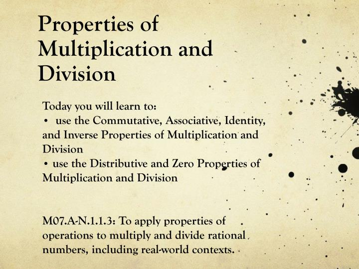 properties of multiplication and division n.
