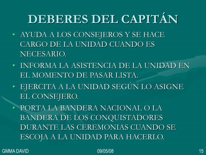 DEBERES DEL CAPITÁN