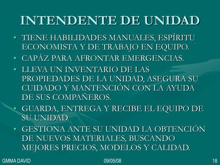 INTENDENTE DE UNIDAD