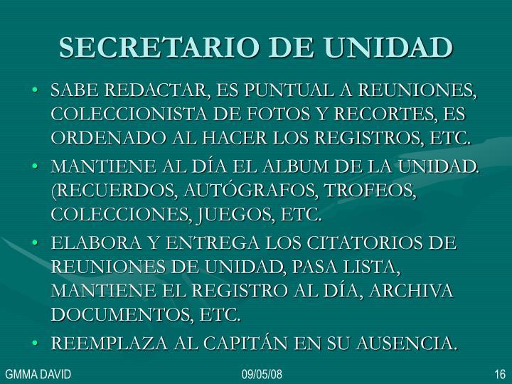 SECRETARIO DE UNIDAD