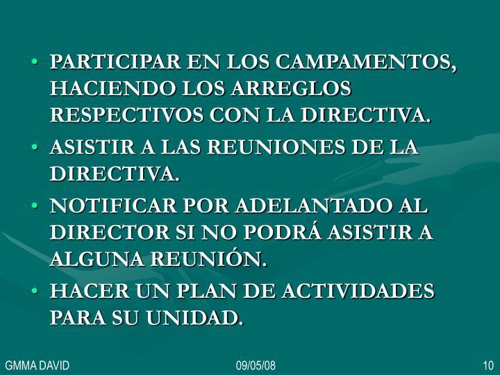 PARTICIPAR EN LOS CAMPAMENTOS, HACIENDO LOS ARREGLOS RESPECTIVOS CON LA DIRECTIVA.