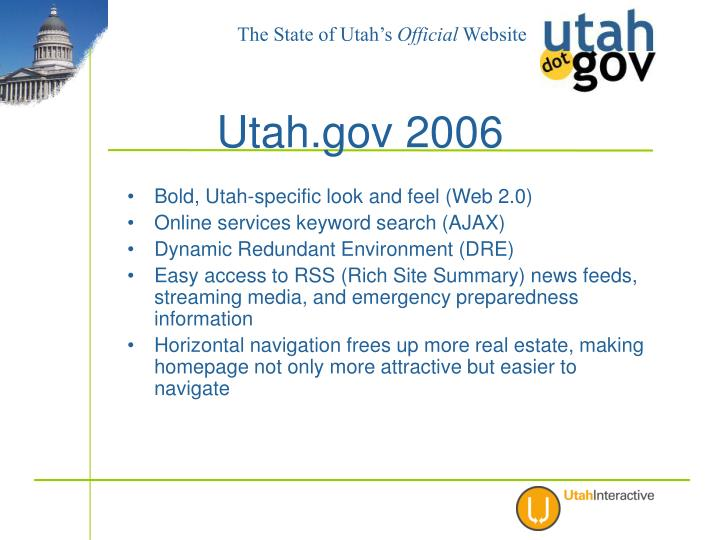 Bold, Utah-specific look and feel (Web 2.0)