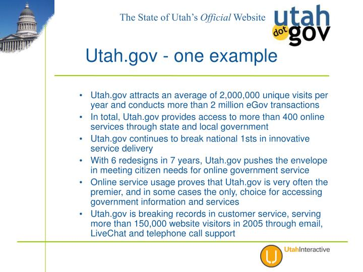 Utah.gov attracts an average of 2,000,000 unique visits per year and conducts more than 2 million eGov transactions