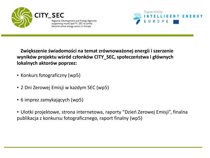 Zwiększenie świadomości na temat zrównoważonej energii i szerzenie wyników projektu wśród członków CITY_SEC, społeczeństwa i głównych lokalnych aktorów poprzez: