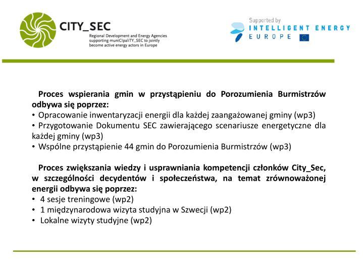Proces wspierania gmin w przystąpieniu do Porozumienia Burmistrzów odbywa się poprzez: