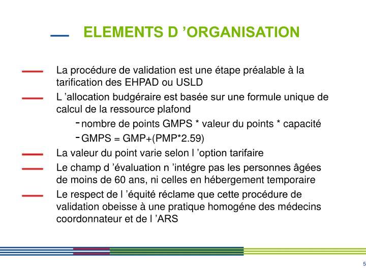 ELEMENTS D'ORGANISATION