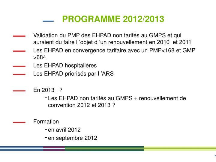 PROGRAMME 2012/2013