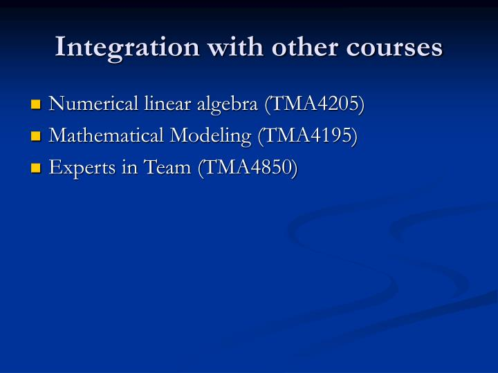 Integration with other courses