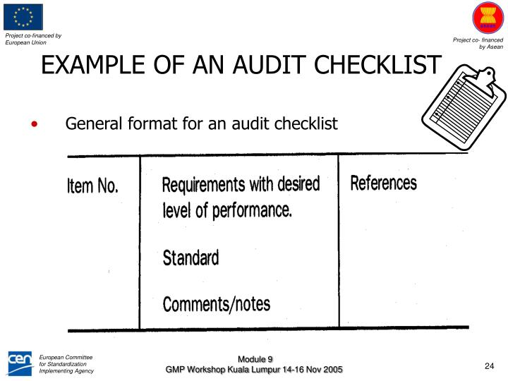 EXAMPLE OF AN AUDIT CHECKLIST