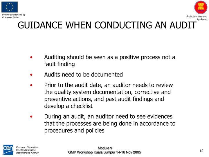 GUIDANCE WHEN CONDUCTING AN AUDIT
