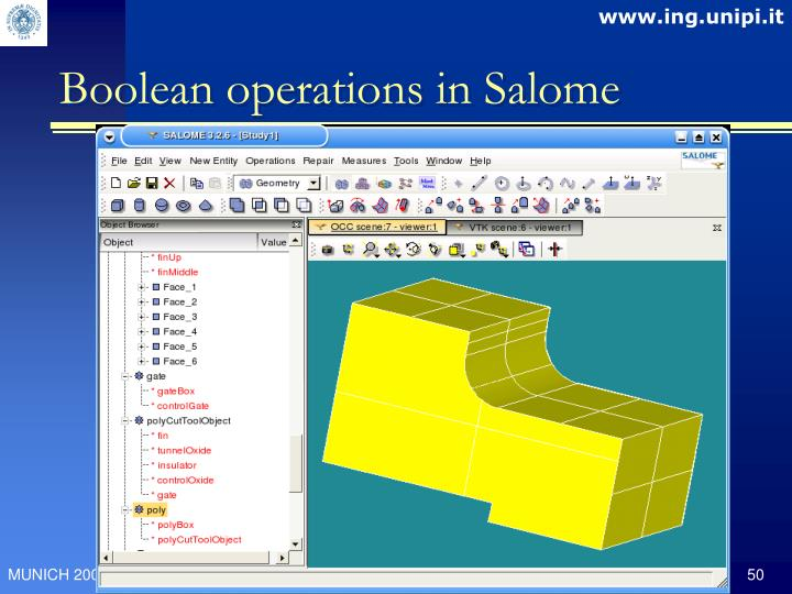 Boolean operations in Salome