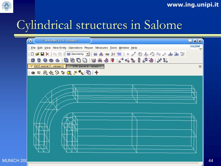 Cylindrical structures in Salome