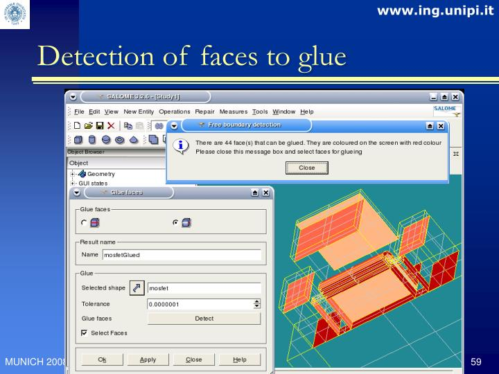 Detection of faces to glue