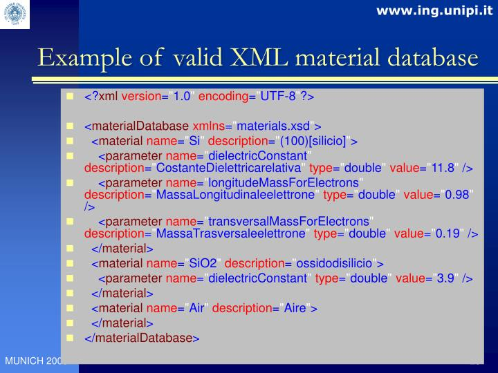 Example of valid XML material database