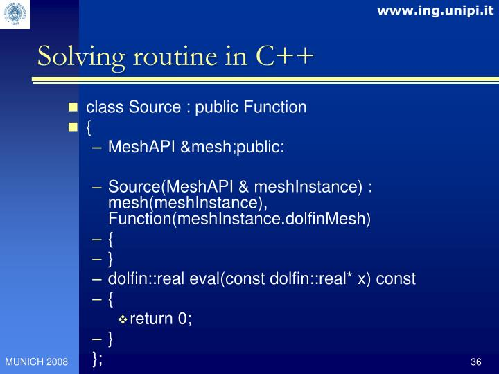 Solving routine in C++