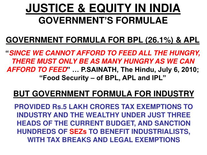 JUSTICE & EQUITY IN INDIA
