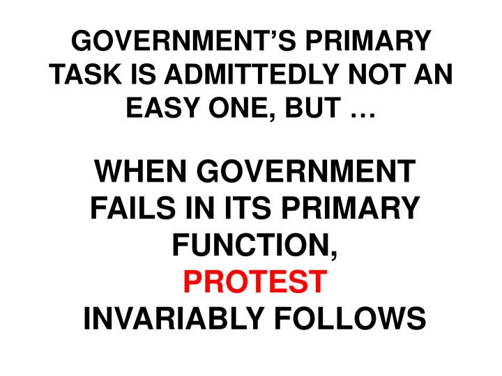 GOVERNMENT'S PRIMARY TASK IS ADMITTEDLY NOT AN EASY ONE, BUT …
