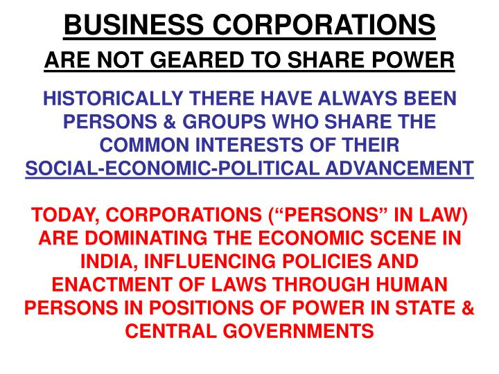 BUSINESS CORPORATIONS