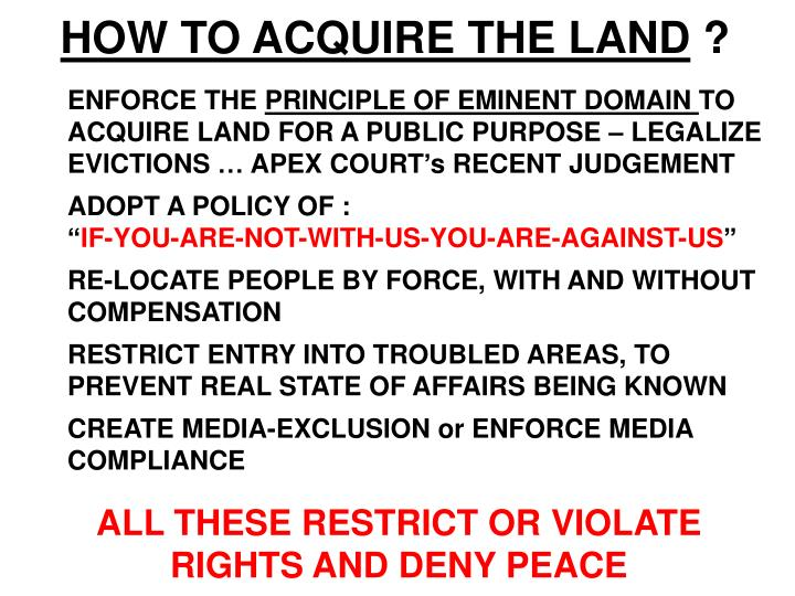 HOW TO ACQUIRE THE LAND