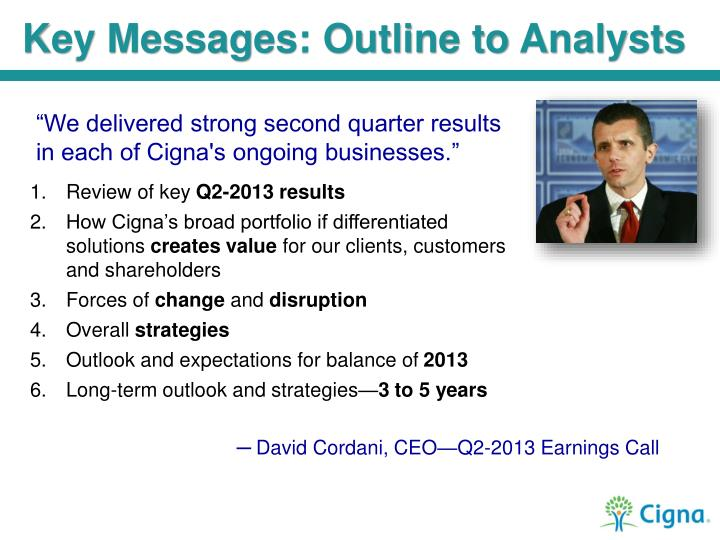 Key Messages: Outline to Analysts
